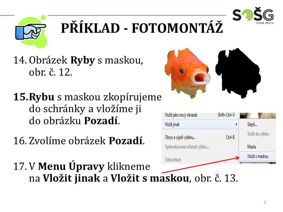PŘÍKLAD - FOTOMONTÁŽ 14.Obrázek Ryby s maskou, obr.