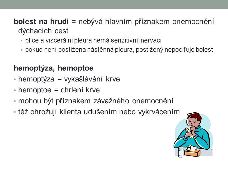 bolest na hrudi = nebývá hlavním příznakem onemocnění dýchacích cest plíce a viscerální pleura nemá senzitivní inervaci pokud není postižena nástěnná