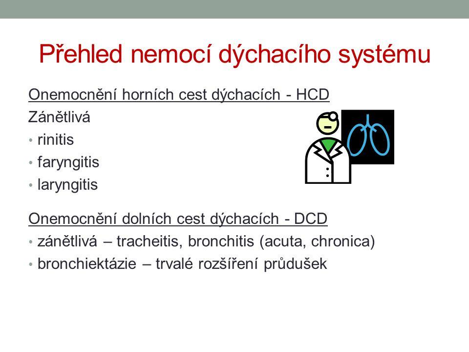 Přehled nemocí dýchacího systému Onemocnění horních cest dýchacích - HCD Zánětlivá rinitis faryngitis laryngitis Onemocnění dolních cest dýchacích - D