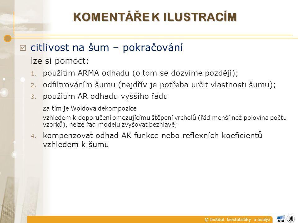 © Institut biostatistiky a analýz  citlivost na šum – pokračování lze si pomoct: 1. použitím ARMA odhadu (o tom se dozvíme později); 2. odfiltrováním