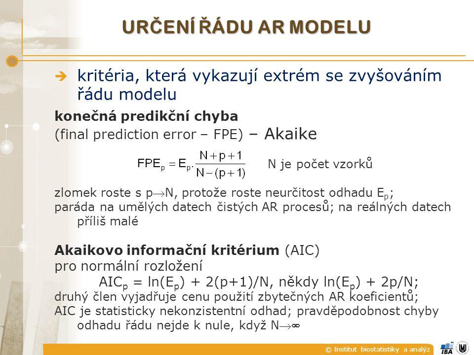 © Institut biostatistiky a analýz UR Č ENÍ Ř ÁDU AR MODELU  kritéria, která vykazují extrém se zvyšováním řádu modelu konečná predikční chyba (final