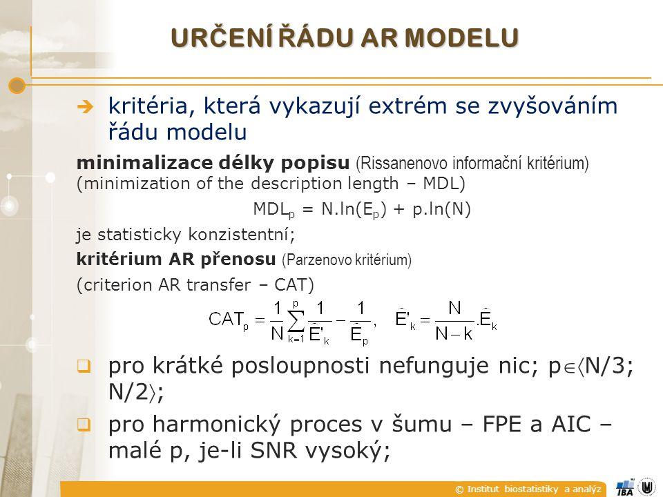 © Institut biostatistiky a analýz UR Č ENÍ Ř ÁDU AR MODELU  kritéria, která vykazují extrém se zvyšováním řádu modelu minimalizace délky popisu (Riss