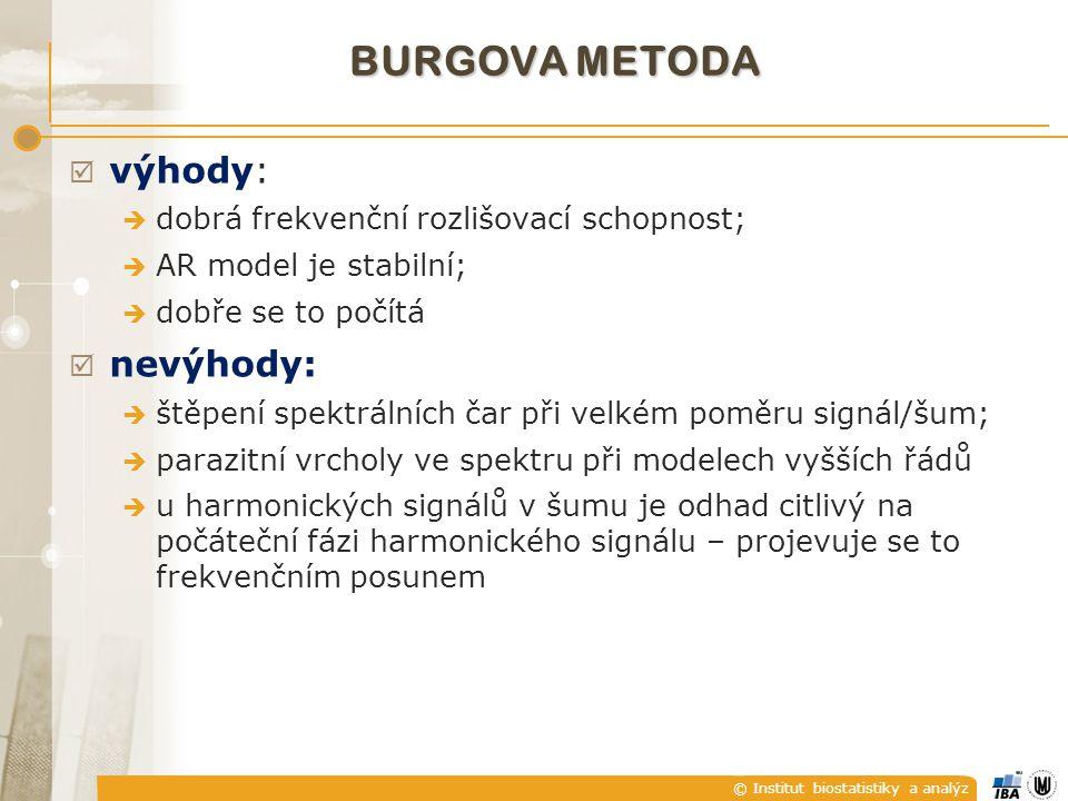© Institut biostatistiky a analýz BURGOVA METODA  jak na uvedené nevýhody.