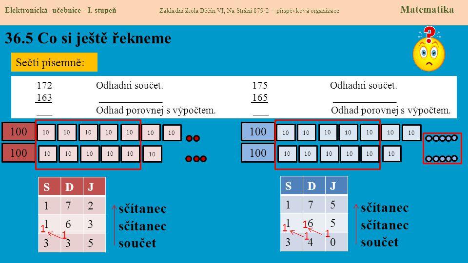 36.5 Co si ještě řekneme Elektronická učebnice - I. stupeň Základní škola Děčín VI, Na Stráni 879/2 – příspěvková organizace Matematika Sečti písemně: