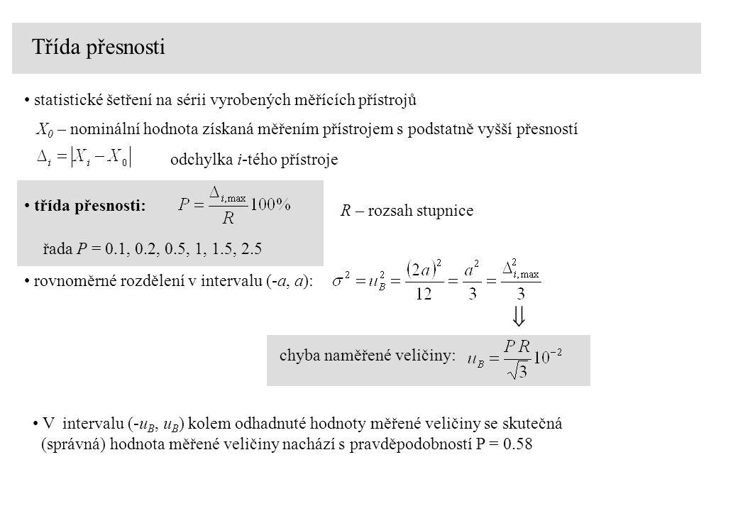 Třída přesnosti příklad: Rozsah ampérmetru je R = 3 A, třída přesnosti P = 1.5 Absolutní chyba (nejistota) měření proudu na tomto rozsahu je: třída přesnosti: R – rozsah stupnice Poznámka: Z důvodů minimalisace relativní nejistoty (chyby) měření je nutno měřit v horní polovině stupnice ručkového měřícího přístroje provozní2.5 provozní1.5 laboratorní1 0.5 cejchovní0.2 etalony, normály0.1 Kategoriep dělení měřících přístrojů podle třídy přesnosti: