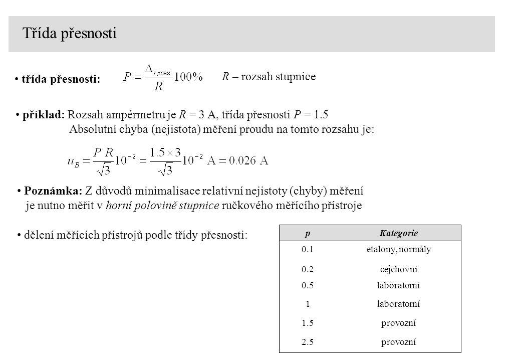 Třída přesnosti příklad: Rozsah ampérmetru je R = 3 A, třída přesnosti P = 1.5 Absolutní chyba (nejistota) měření proudu na tomto rozsahu je: třída př
