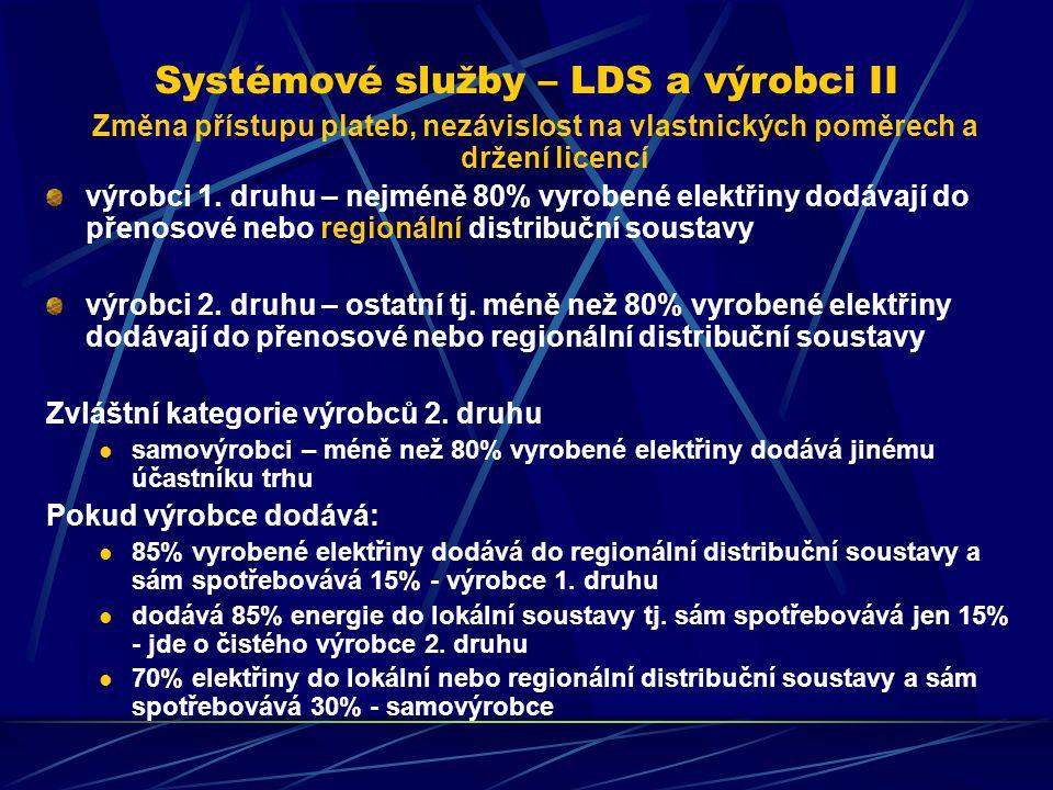 Systémové služby – LDS a výrobci II Změna přístupu plateb, nezávislost na vlastnických poměrech a držení licencí výrobci 1.