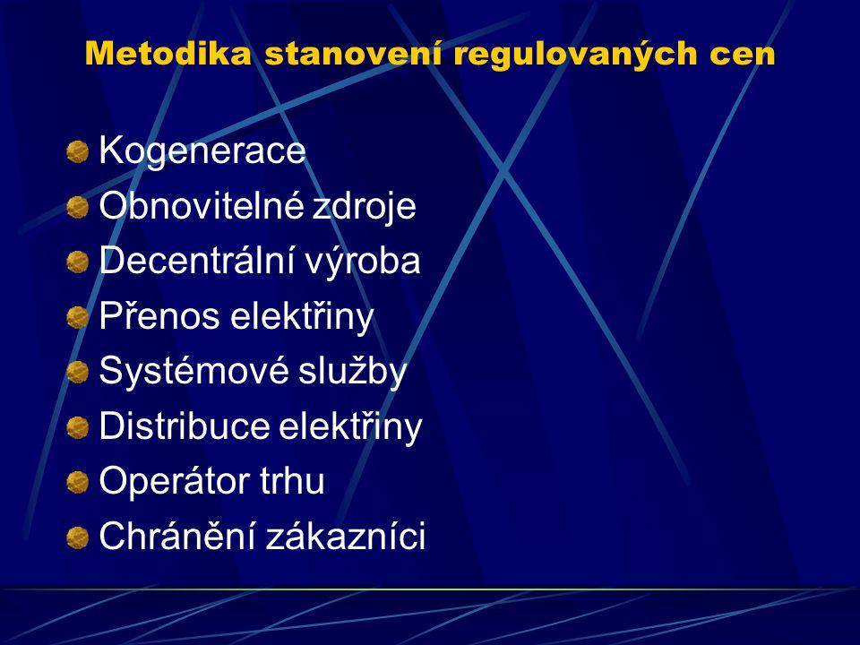 Metodika stanovení regulovaných cen Kogenerace Obnovitelné zdroje Decentrální výroba Přenos elektřiny Systémové služby Distribuce elektřiny Operátor trhu Chránění zákazníci