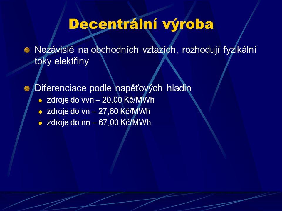 Decentrální výroba Nezávislé na obchodních vztazích, rozhodují fyzikální toky elektřiny Diferenciace podle napěťových hladin zdroje do vvn – 20,00 Kč/MWh zdroje do vn – 27,60 Kč/MWh zdroje do nn – 67,00 Kč/MWh