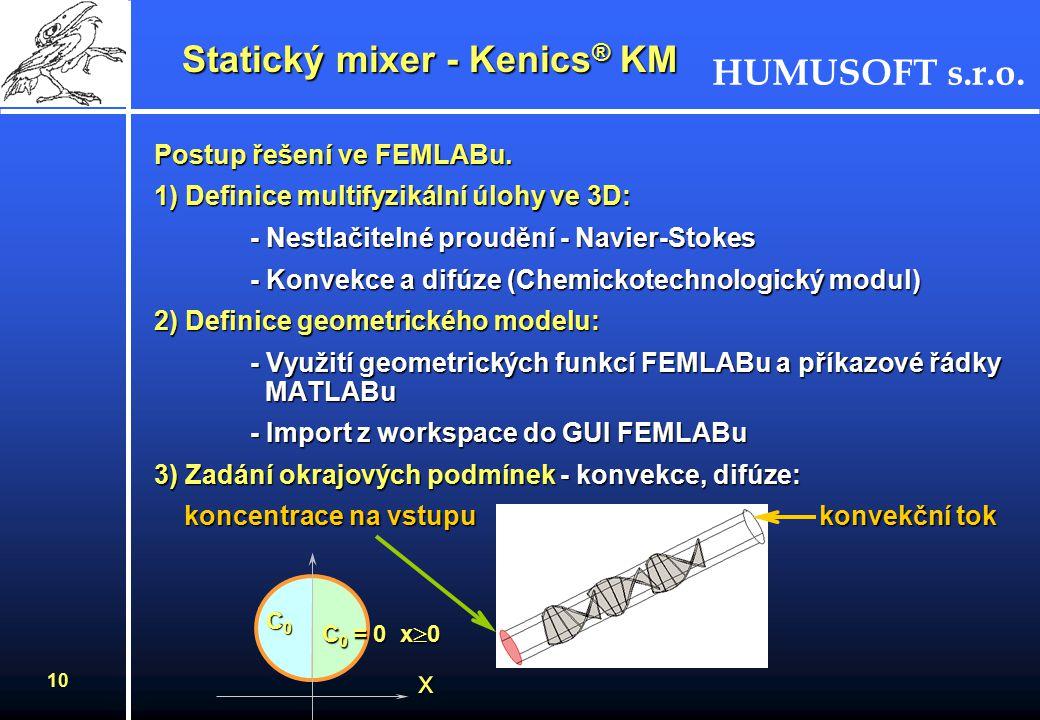 9 Statický mixer - Kenics ® KM Úloha:Úloha: Simulace proudění dvou látek, které se mají po průchodu zařízením s nerotujícími částmi maximálně promíchat.