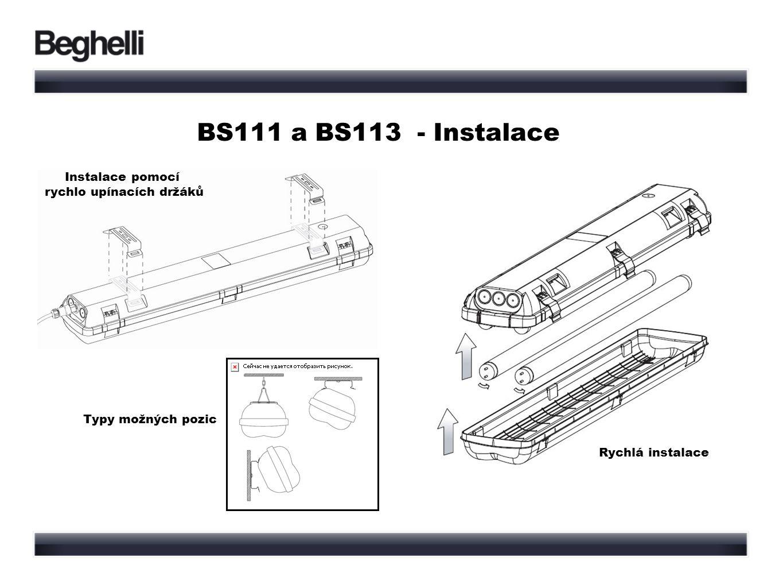 BS111 a BS113 - Instalace Rychlá instalace Instalace pomocí rychlo upínacích držáků Typy možných pozic