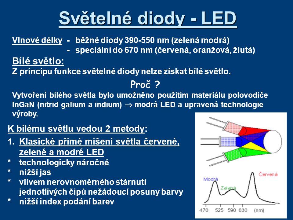 Vlnové délky-běžné diody 390-550 nm (zelená modrá) -speciální do 670 nm (červená, oranžová, žlutá) Bílé světlo: Z principu funkce světelné diody nelze získat bílé světlo.