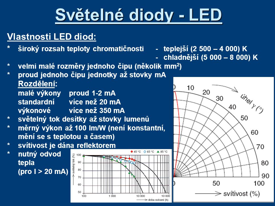 Světelné diody - LED Vlastnosti LED diod: * široký rozsah teploty chromatičnosti-teplejší (2 500 – 4 000) K -chladnější (5 000 – 8 000) K *velmi malé rozměry jednoho čipu (několik mm 2 ) *proud jednoho čipu jednotky až stovky mA Rozdělení: malé výkonyproud 1-2 mA standardnívíce než 20 mA výkonovévíce než 350 mA *světelný tok desítky až stovky lumenů *měrný výkon až 100 lm/W (není konstantní, mění se s teplotou a časem) *svítivost je dána reflektorem *nutný odvod tepla (pro I > 20 mA)