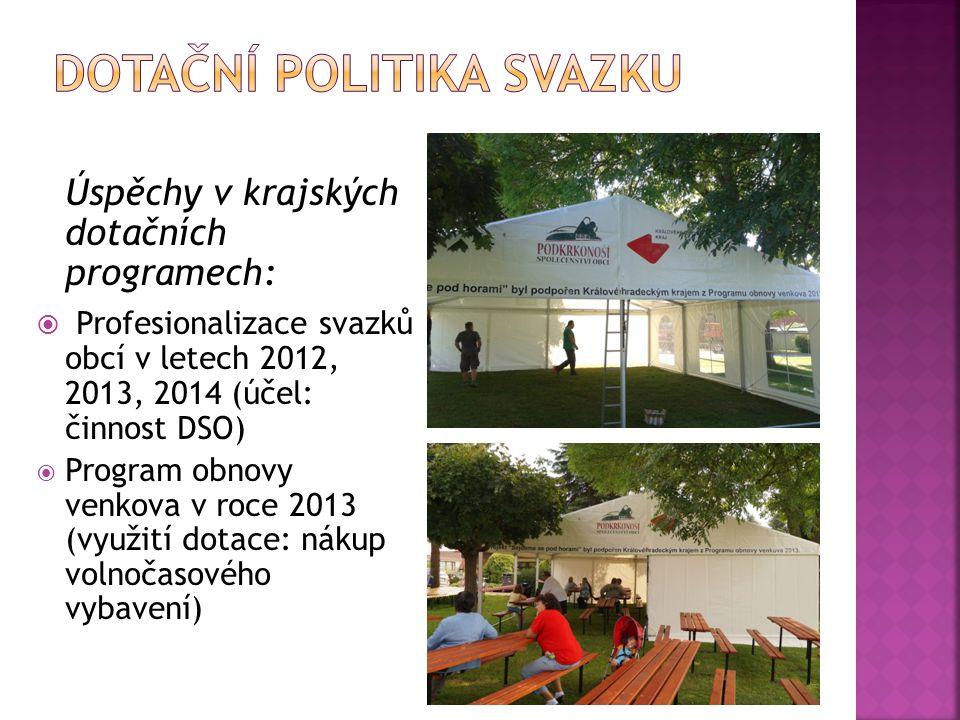 Úspěchy v krajských dotačních programech:  Profesionalizace svazků obcí v letech 2012, 2013, 2014 (účel: činnost DSO)  Program obnovy venkova v roce
