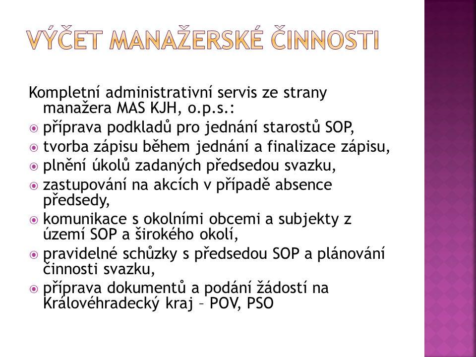 Kompletní administrativní servis ze strany manažera MAS KJH, o.p.s.:  příprava podkladů pro jednání starostů SOP,  tvorba zápisu během jednání a fin