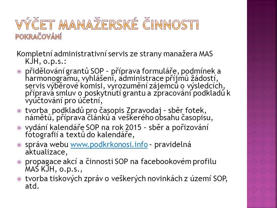 Kompletní administrativní servis ze strany manažera MAS KJH, o.p.s.:  přidělování grantů SOP – příprava formuláře, podmínek a harmonogramu, vyhlášení