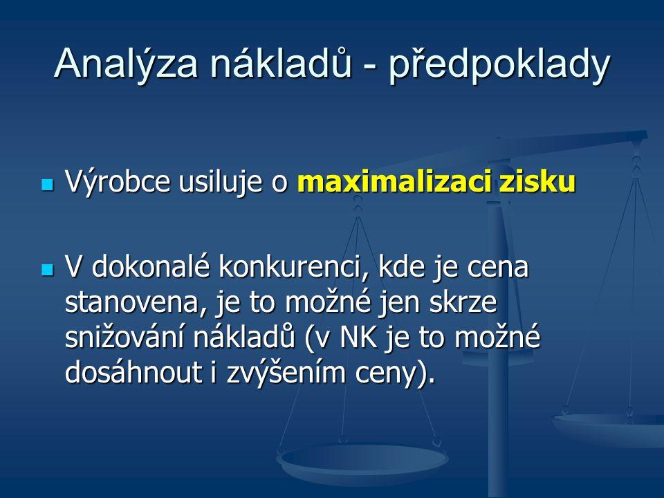Analýza nákladů - předpoklady Výrobce usiluje o maximalizaci zisku Výrobce usiluje o maximalizaci zisku V dokonalé konkurenci, kde je cena stanovena,