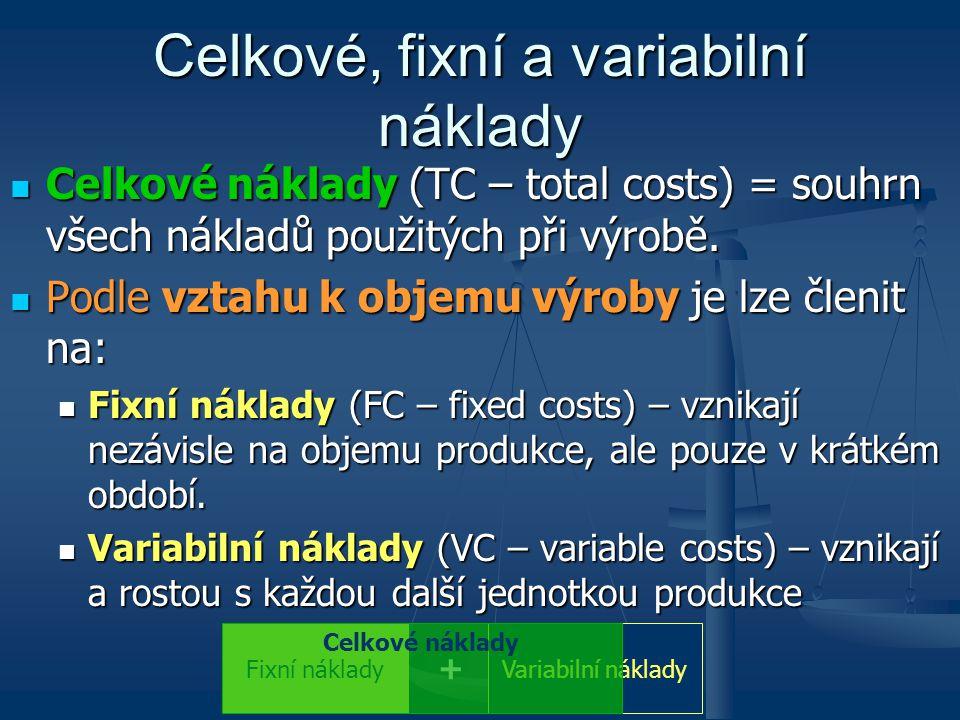 Celkové, fixní a variabilní náklady Celkové náklady (TC – total costs) = souhrn všech nákladů použitých při výrobě. Celkové náklady (TC – total costs)