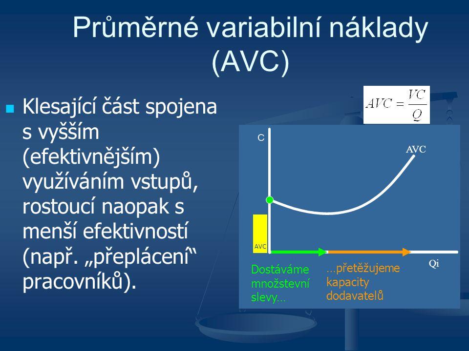 """Průměrné variabilní náklady (AVC) Klesající část spojena s vyšším (efektivnějším) využíváním vstupů, rostoucí naopak s menší efektivností (např. """"přep"""