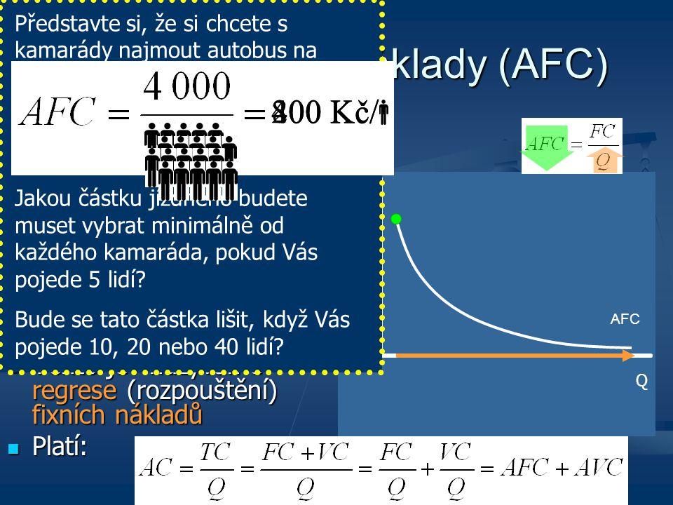 Kč Q Průměrné fixní náklady (AFC) S růstem produkce jsou (konstantní) fixní náklady rozdělovány na stále větší počet jednotek produkce (průměrně tedy