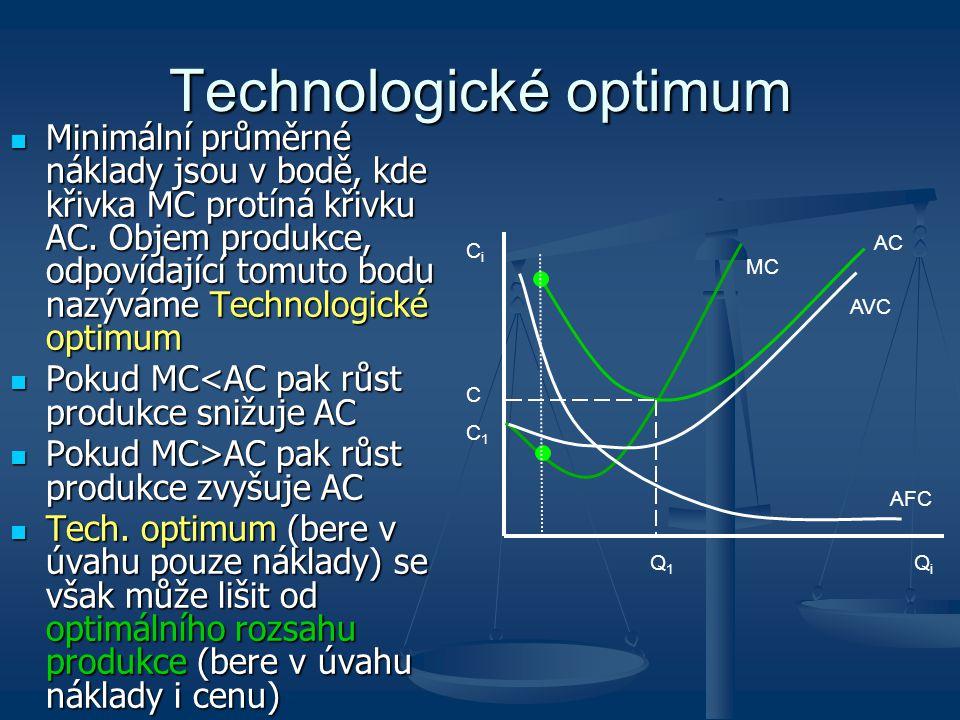 Technologické optimum Minimální průměrné náklady jsou v bodě, kde křivka MC protíná křivku AC. Objem produkce, odpovídající tomuto bodu nazýváme Techn