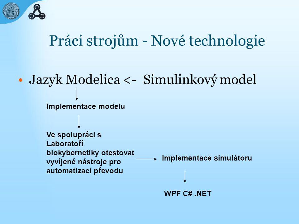 Práci strojům - Nové technologie Jazyk Modelica <- WPF C#.NET Implementace modelu Implementace simulátoru Ve spolupráci s Laboratoří biokybernetiky otestovat vyvíjené nástroje pro automatizaci převodu Simulinkový model