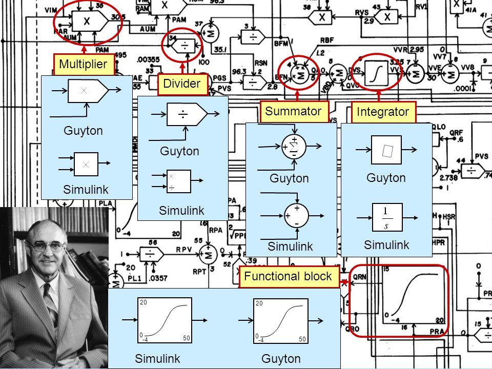 Multiplier Divider Summator Integrator Guyton Simulink Functional block  Guyton Simulink Guyton Simulink GuytonSimulink -4 0 20 50 -4 0 20 50 Simulink + + - + + - Guyton