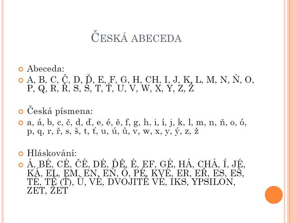 Č ESKÁ ABECEDA Abeceda: A, B, C, Č, D, Ď, E, F, G, H, CH, I, J, K, L, M, N, Ň, O, P, Q, R, Ř, S, Š, T, Ť, U, V, W, X, Y, Z, Ž Česká písmena: a, á, b, c, č, d, ď, e, é, ě, f, g, h, i, í, j, k, l, m, n, ň, o, ó, p, q, r, ř, s, š, t, ť, u, ú, ů, v, w, x, y, ý, z, ž Hláskování: Á, BÉ, CÉ, ČÉ, DÉ, ĎĚ, É, EF, GÉ, HÁ, CHÁ, Í, JÉ, KÁ, EL, EM, EN, EŇ, Ó, PÉ, KVÉ, ER, EŘ, ES, EŠ, TÉ, TĚ (Ť), Ú, VÉ, DVOJITÉ VÉ, IKS, YPSILON, ZET, ŽET