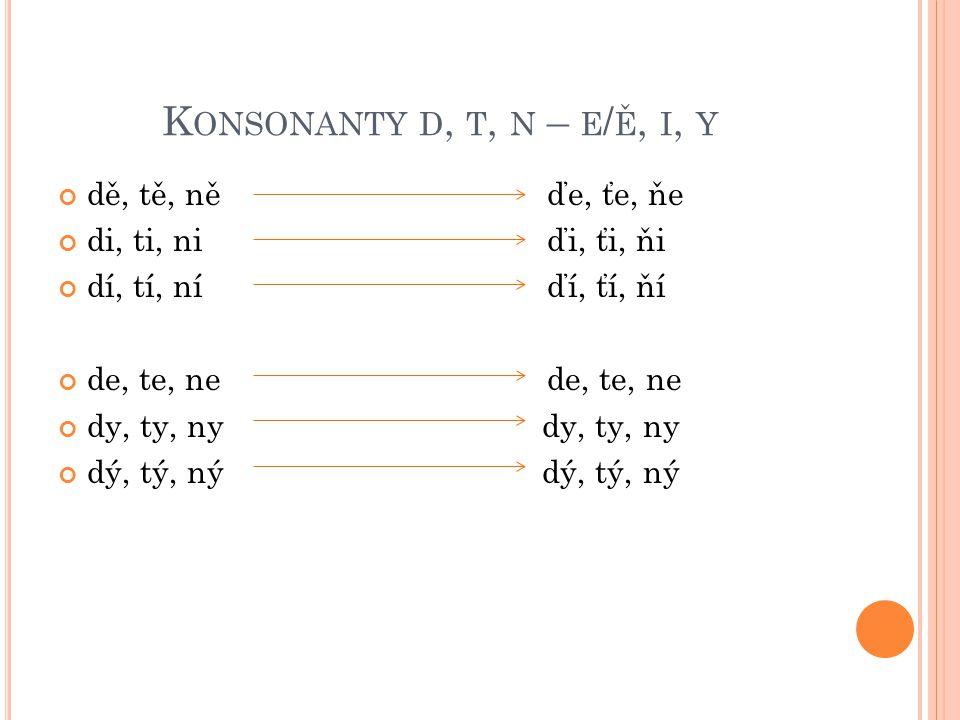 K ONSONANTY D, T, N – E / Ě, I, Y dě, tě, ně ďe, ťe, ňe di, ti, ni ďi, ťi, ňi dí, tí, ní ďí, ťí, ňí de, te, ne dy, ty, ny dý, tý, ný