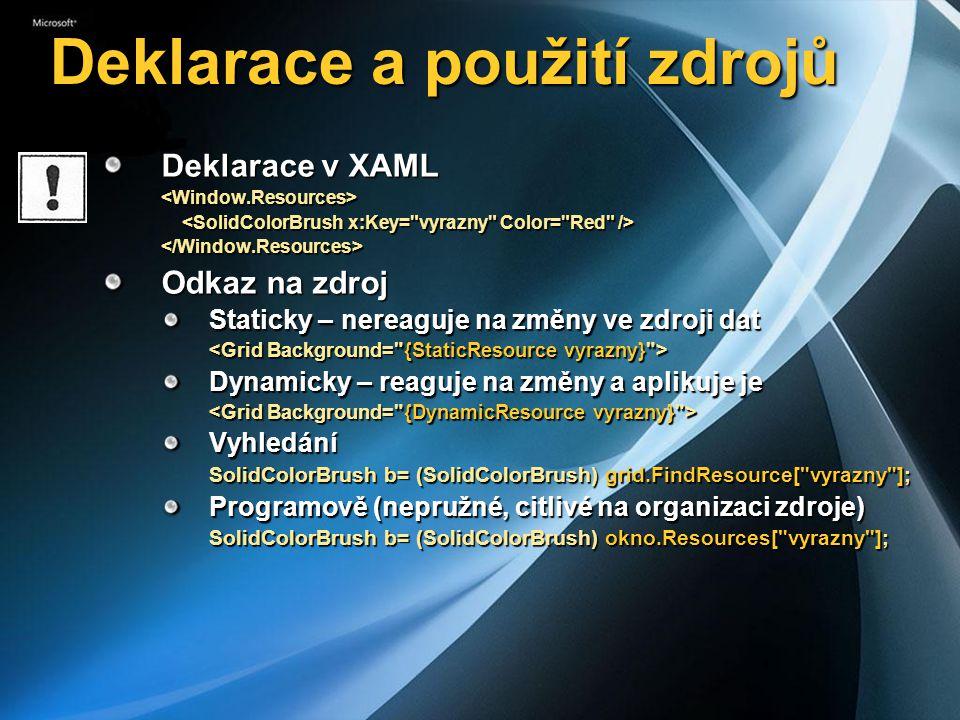 Deklarace a použití zdrojů Deklarace v XAML <Window.Resources> </Window.Resources> Odkaz na zdroj Staticky – nereaguje na změny ve zdroji dat Dynamicky – reaguje na změny a aplikuje je Vyhledání SolidColorBrush b= (SolidColorBrush) grid.FindResource[ vyrazny ]; Programově (nepružné, citlivé na organizaci zdroje) SolidColorBrush b= (SolidColorBrush) okno.Resources[ vyrazny ];