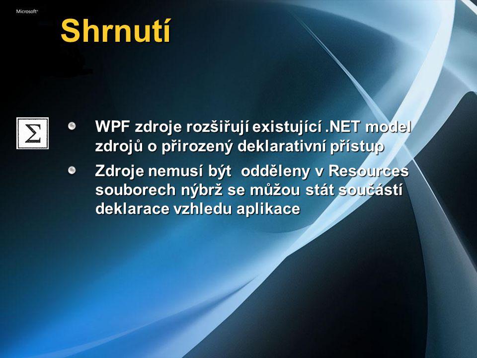 Shrnutí Shrnutí WPF zdroje rozšiřují existující.NET model zdrojů o přirozený deklarativní přístup Zdroje nemusí být odděleny v Resources souborech nýbrž se můžou stát součástí deklarace vzhledu aplikace