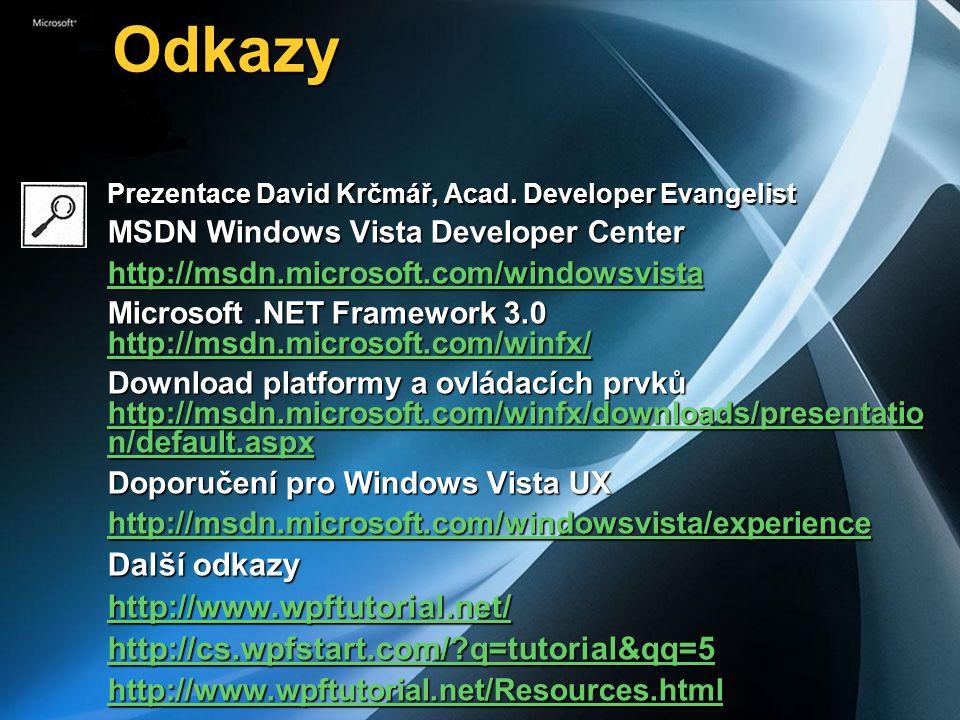 Odkazy Odkazy Prezentace David Krčmář, Acad. Developer Evangelist MSDN Windows Vista Developer Center http://msdn.microsoft.com/windowsvista Microsoft