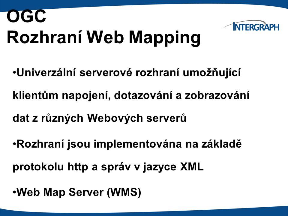 OGC Rozhraní Web Mapping Univerzální serverové rozhraní umožňující klientům napojení, dotazování a zobrazování dat z různých Webových serverů Rozhraní jsou implementována na základě protokolu http a správ v jazyce XML Web Map Server (WMS)