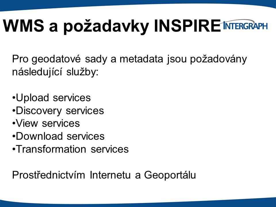 WMS a požadavky INSPIRE Pro geodatové sady a metadata jsou požadovány následující služby: Upload services Discovery services View services Download se