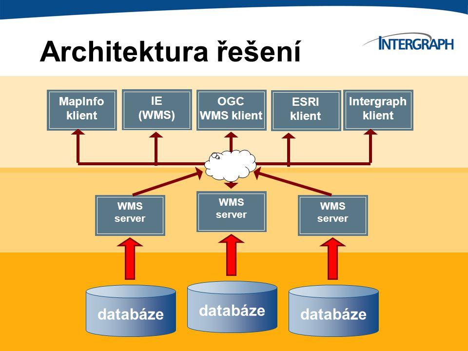databáze WMS server IE (WMS) ESRI klient OGC WMS klient Architektura řešení MapInfo klient Intergraph klient databáze WMS server databáze WMS server