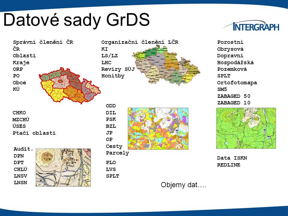 Datové sady GrDS PLO LVS SPLT Data ISKN REDLINE ODD DIL PSK BZL JP OP Cesty Parcely Audit.