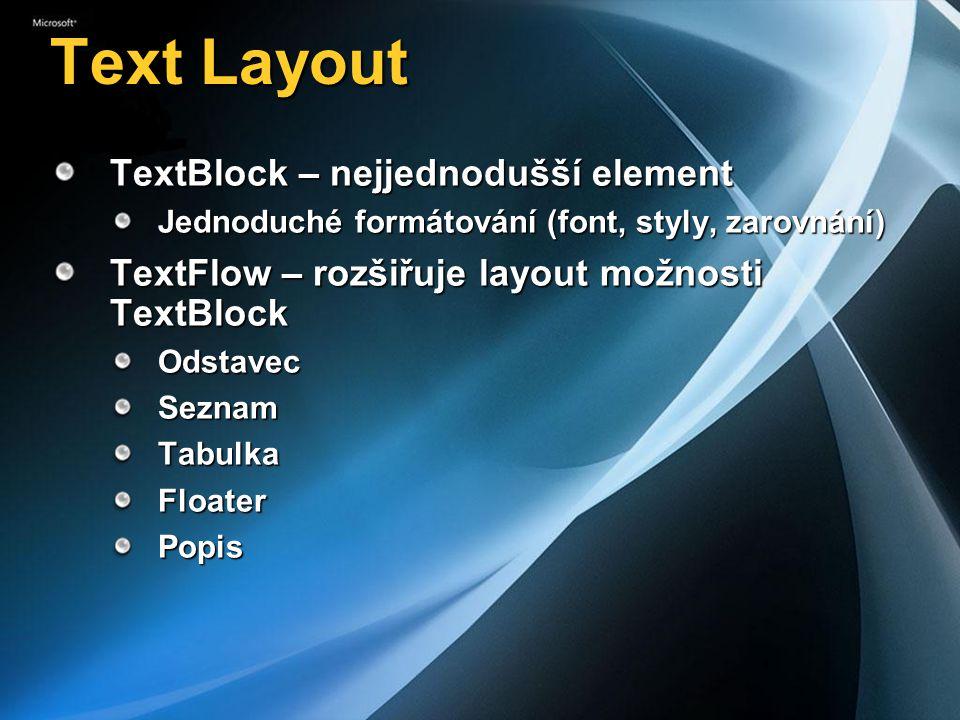 Text Layout TextBlock – nejjednodušší element Jednoduché formátování (font, styly, zarovnání) TextFlow – rozšiřuje layout možnosti TextBlock OdstavecSeznamTabulkaFloaterPopis