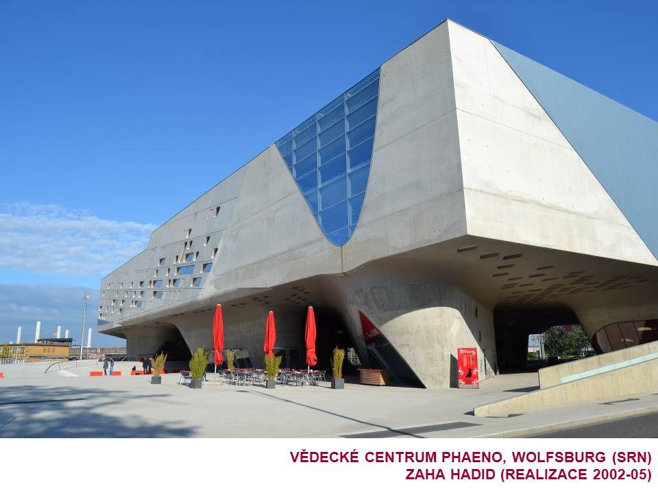 VĚDECKÉ CENTRUM PHAENO, WOLFSBURG (SRN) ZAHA HADID (REALIZACE 2002-05)