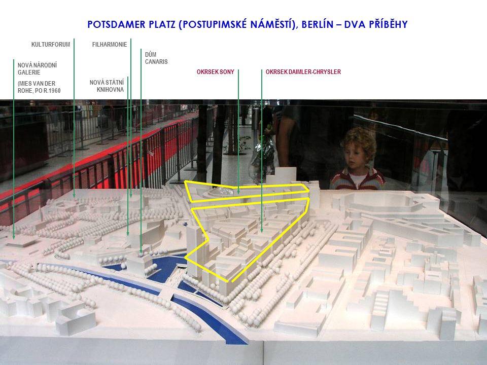 POTSDAMER PLATZ (POSTUPIMSKÉ NÁMĚSTÍ), BERLÍN – DVA PŘÍBĚHY NOVÁ STÁTNÍ KNIHOVNA NOVÁ NÁRODNÍ GALERIE (MIES VAN DER ROHE, PO R.1960 DŮM CANARIS FILHARMONIEKULTURFORUM OKRSEK SONYOKRSEK DAIMLER-CHRYSLER