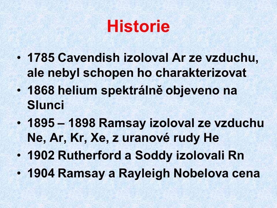 Historie 1785 Cavendish izoloval Ar ze vzduchu, ale nebyl schopen ho charakterizovat 1868 helium spektrálně objeveno na Slunci 1895 – 1898 Ramsay izol
