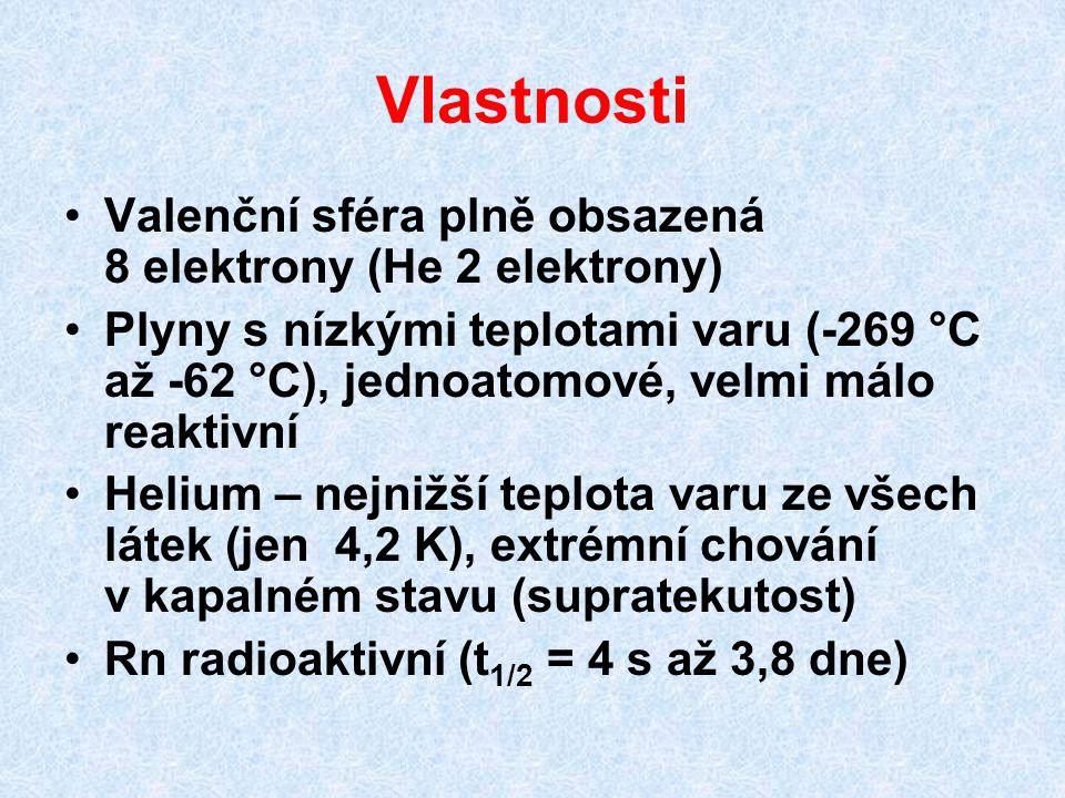 Vlastnosti Valenční sféra plně obsazená 8 elektrony (He 2 elektrony) Plyny s nízkými teplotami varu (-269 °C až -62 °C), jednoatomové, velmi málo reak