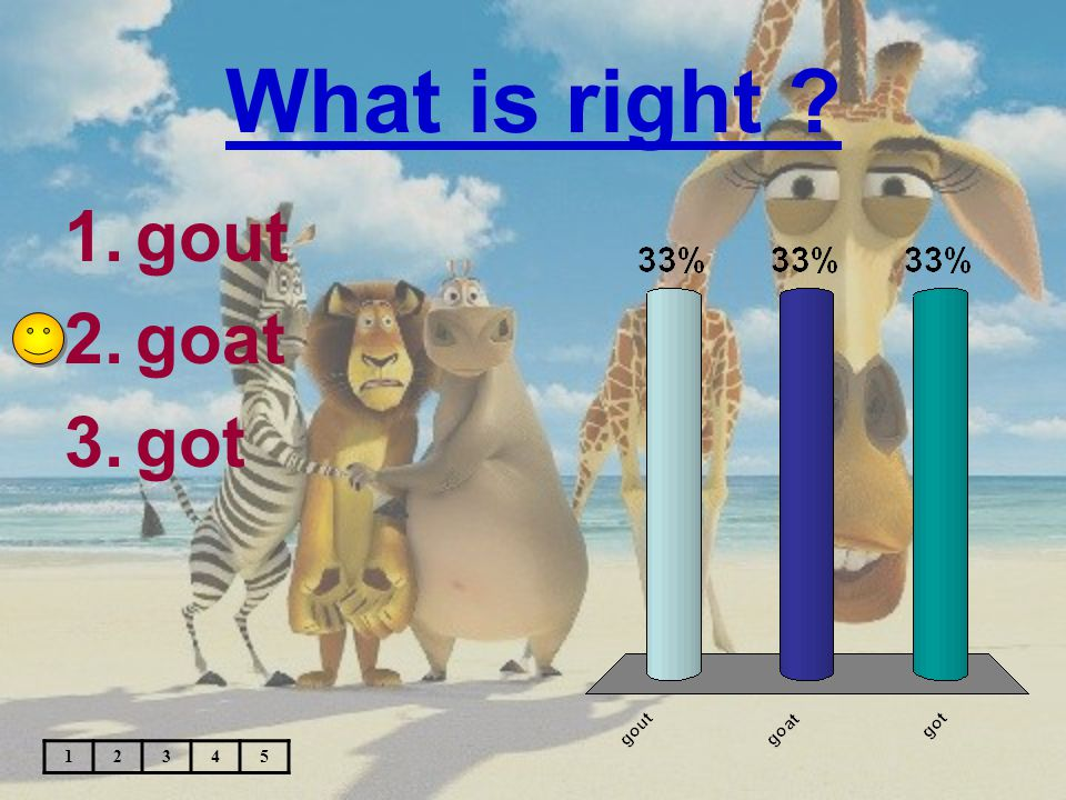 What is right ? 1.gout 2.goat 3.got 12345
