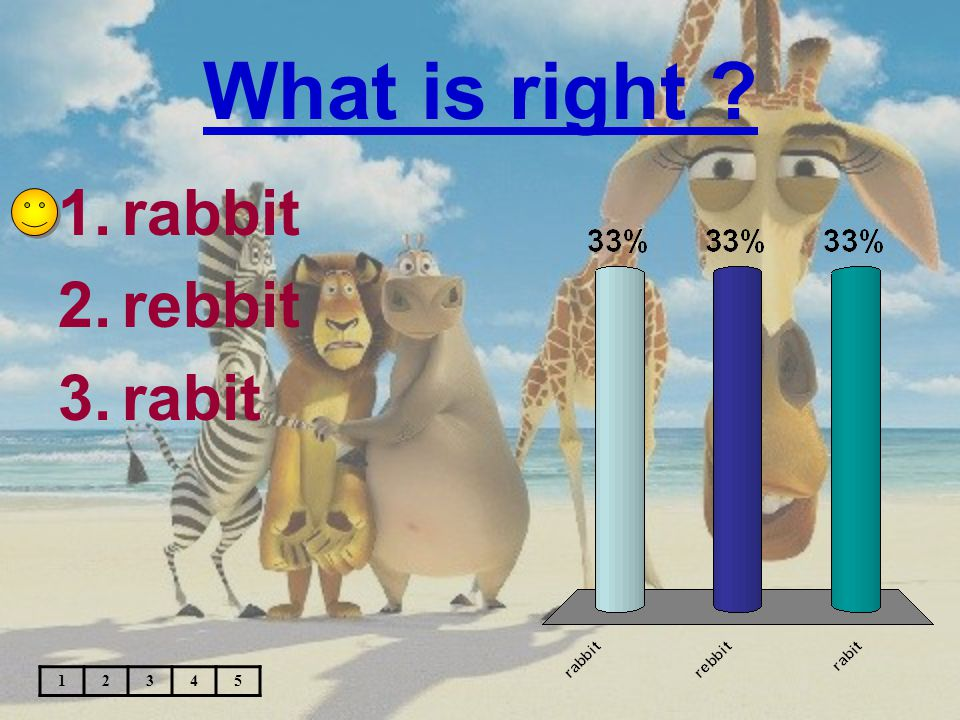 What is right ? 1.rabbit 2.rebbit 3.rabit 12345