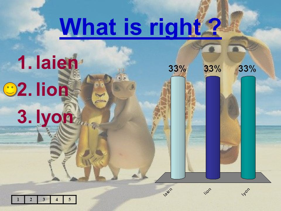 What is right ? 1.laien 2.lion 3.lyon 12345