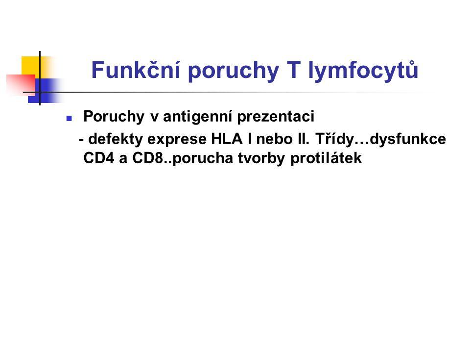 Funkční poruchy T lymfocytů Poruchy v antigenní prezentaci - defekty exprese HLA I nebo II.