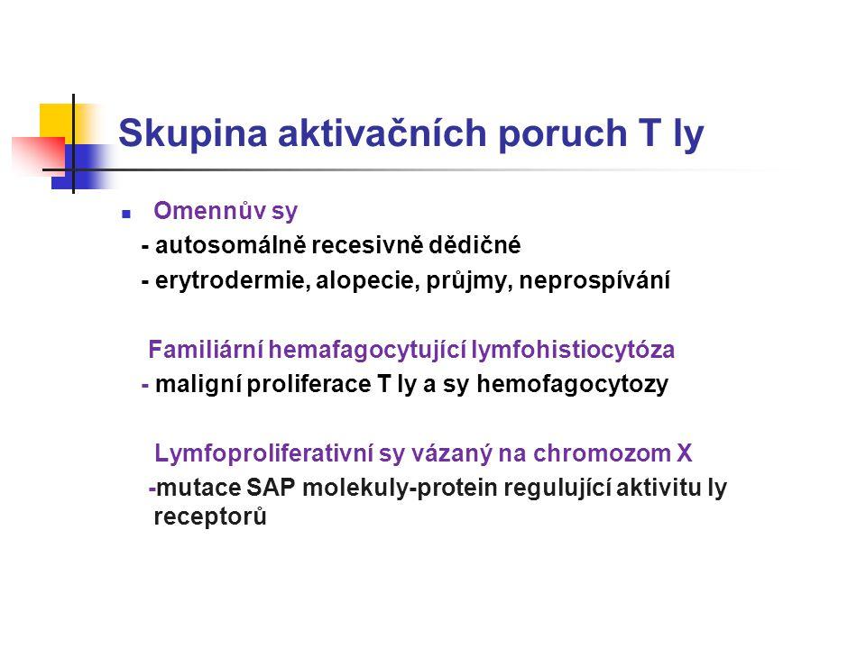 Skupina aktivačních poruch T ly Omennův sy - autosomálně recesivně dědičné - erytrodermie, alopecie, průjmy, neprospívání Familiární hemafagocytující lymfohistiocytóza - maligní proliferace T ly a sy hemofagocytozy Lymfoproliferativní sy vázaný na chromozom X -mutace SAP molekuly-protein regulující aktivitu ly receptorů