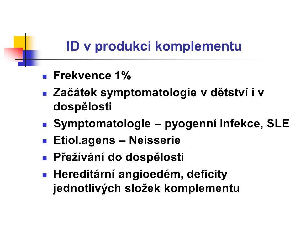 ID v produkci komplementu Frekvence 1% Začátek symptomatologie v dětství i v dospělosti Symptomatologie – pyogenní infekce, SLE Etiol.agens – Neisserie Přežívání do dospělosti Hereditární angioedém, deficity jednotlivých složek komplementu