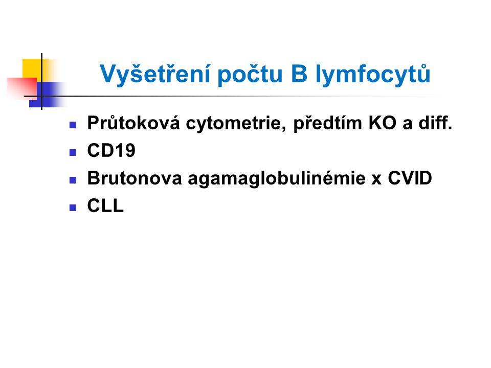 Vyšetření počtu B lymfocytů Průtoková cytometrie, předtím KO a diff.
