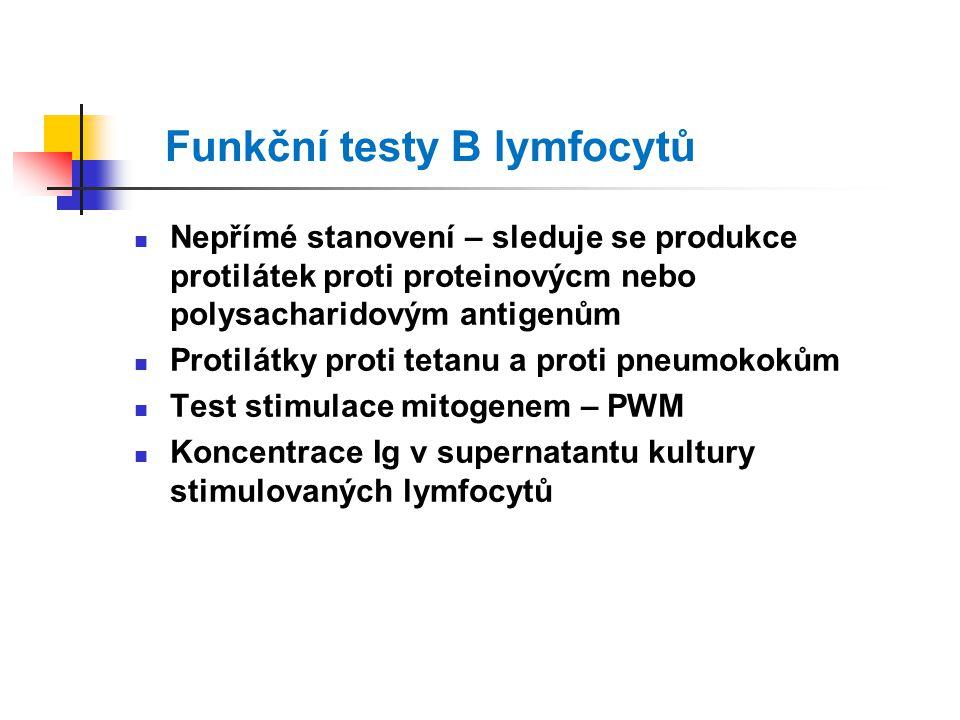 Funkční testy B lymfocytů Nepřímé stanovení – sleduje se produkce protilátek proti proteinovýcm nebo polysacharidovým antigenům Protilátky proti tetanu a proti pneumokokům Test stimulace mitogenem – PWM Koncentrace Ig v supernatantu kultury stimulovaných lymfocytů