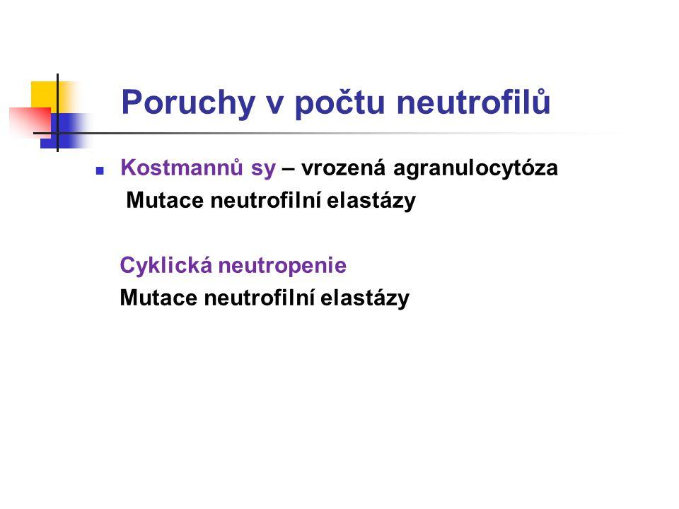 Poruchy v počtu neutrofilů Kostmannů sy – vrozená agranulocytóza Mutace neutrofilní elastázy Cyklická neutropenie Mutace neutrofilní elastázy